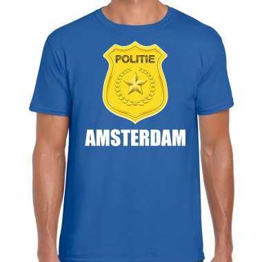 Verkleedkleding politie embleem amsterdam verkleed t shirt blauw heren tip