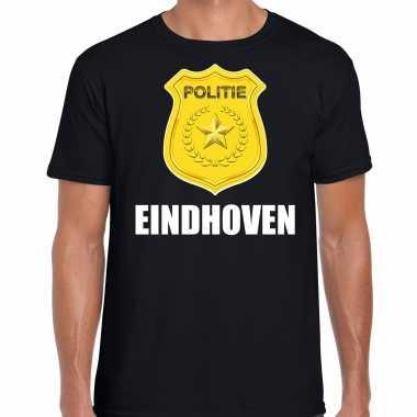 Verkleedkleding politie embleem eindhoven carnaval verkleed t shirt zwart heren tip