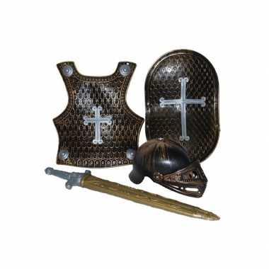 Verkleedkleding  Ridder verkleed accessoires set brons 4-delig tip