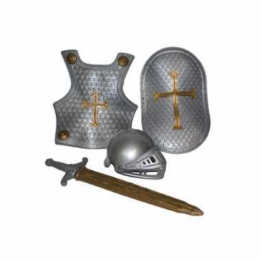 Verkleedkleding  Ridder verkleed accessoires set zilver 4-delig tip