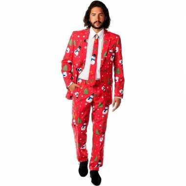 Verkleedkleding rode business suit kerst print tip