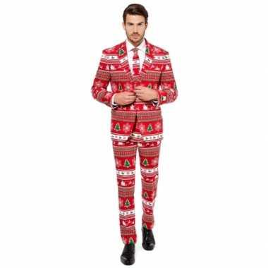 Verkleedkleding rode business suit kerstboom print tip