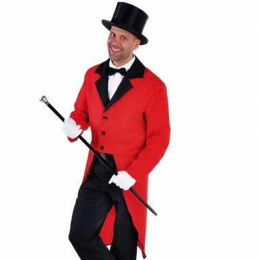 Verkleedkleding rode slipjas zwarte hoge hoed tip