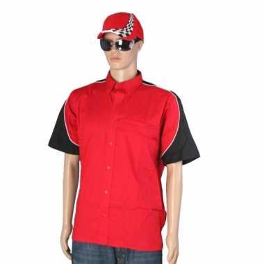 Verkleedkleding  Rood race overhemd inclusief race cap maat L tip