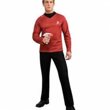 Verkleedkleding rood t shirt star trek tip