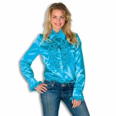 Verkleedkleding  Rouches shirt dames blauw tip
