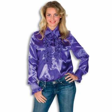 Verkleedkleding  Rouches shirt dames paars tip