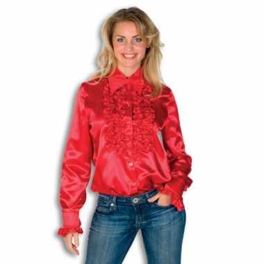 Verkleedkleding  Rouches shirt dames rood tip