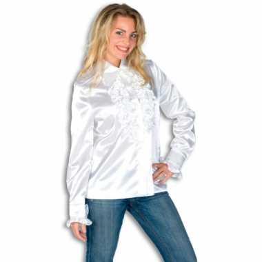 Verkleedkleding  Rouches shirt dames wit tip