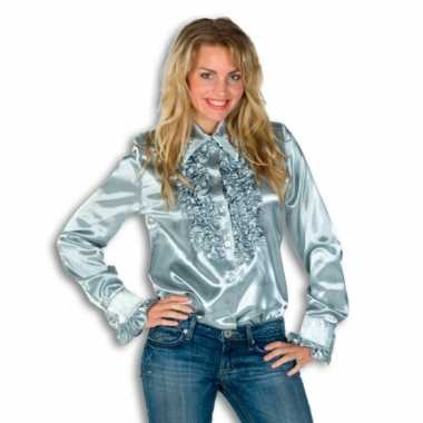 Verkleedkleding  Rouches shirt dames zilver tip