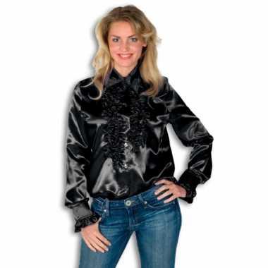 Verkleedkleding  Rouches shirt dames zwart tip