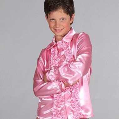 Verkleedkleding roze disco blouse kind tip