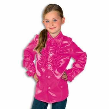 Verkleedkleding  Roze disco blouse Rouches blouse roze jongens tip
