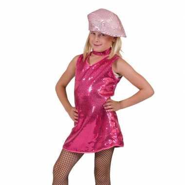 Verkleedkleding  Roze glitter jurk meisjes tip