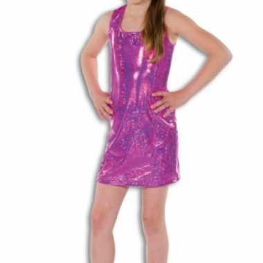 Verkleedkleding  Roze glitterende jurk meisjes tip