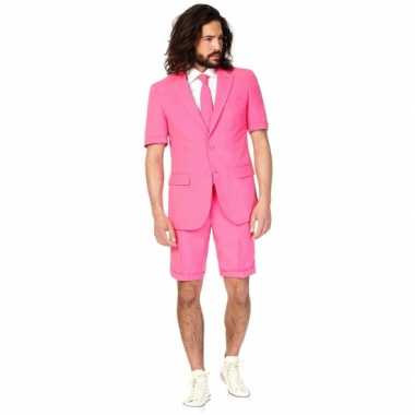 Verkleedkleding  Roze korte Opposuit heren tip