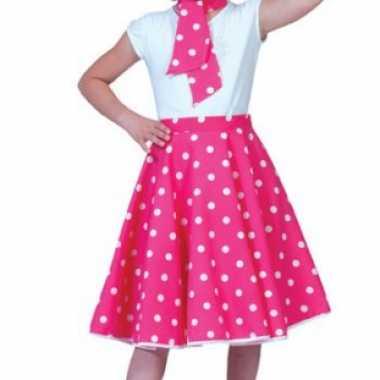 Verkleedkleding  Roze rok witte stippen meiden