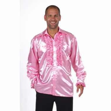 Verkleedkleding  Roze shirt rouches heren tip