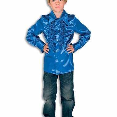 Verkleedkleding  Satijnen blouse kobaltblauw jongens tip