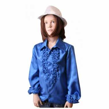 Verkleedkleding  Satijnen blouse kobaltblauw meisjes tip