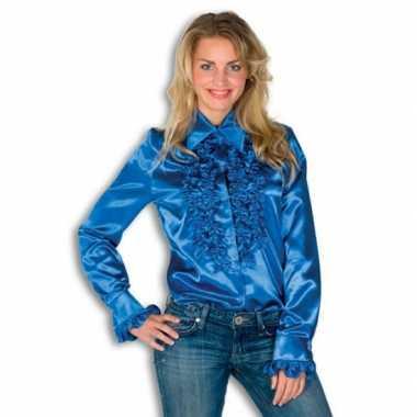Verkleedkleding  Satijnen overhemd blauw dames tip