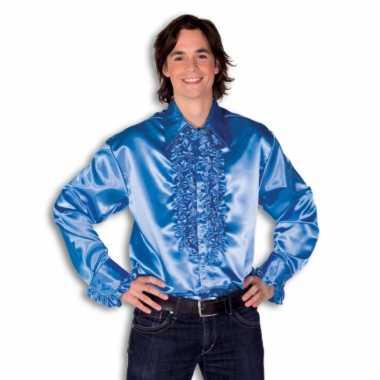 Verkleedkleding  Satijnen overhemd blauw heren tip