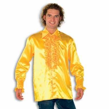 Verkleedkleding  Satijnen overhemd geel heren tip