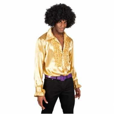 Verkleedkleding  Satijnen overhemd goud heren tip