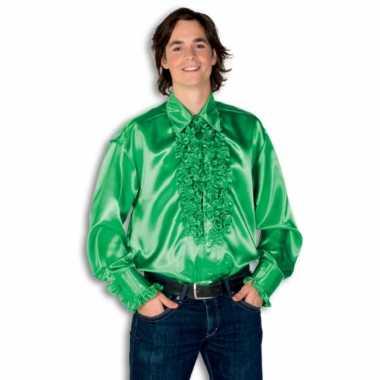 Verkleedkleding  Satijnen overhemd groen heren tip