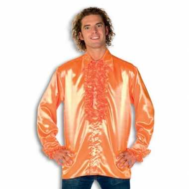 Verkleedkleding  Satijnen overhemd oranje heren tip
