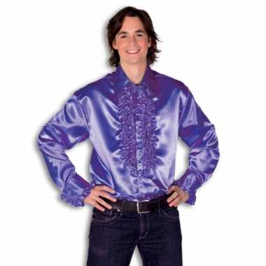 Verkleedkleding  Satijnen overhemd paars heren tip