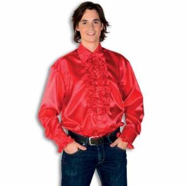 Verkleedkleding  Satijnen overhemd rood heren tip