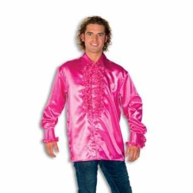 Verkleedkleding  Satijnen overhemd roze heren tip
