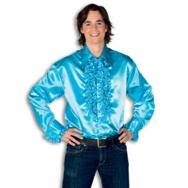 Verkleedkleding  Satijnen overhemd turquoise heren tip
