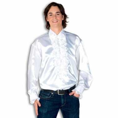 Verkleedkleding  Satijnen overhemd wit heren tip