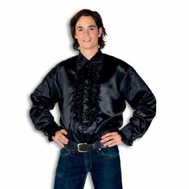 Verkleedkleding  Satijnen overhemd zwart heren tip