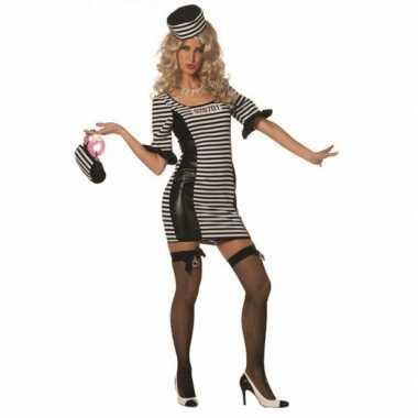 Verkleedkleding  Sexy boeven jurkje zwart/wit tip