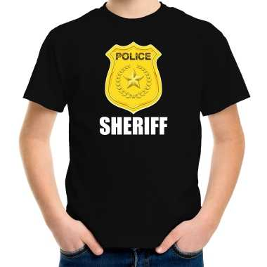 Verkleedkleding sheriff police / politie embleem t shirt zwart kind tip
