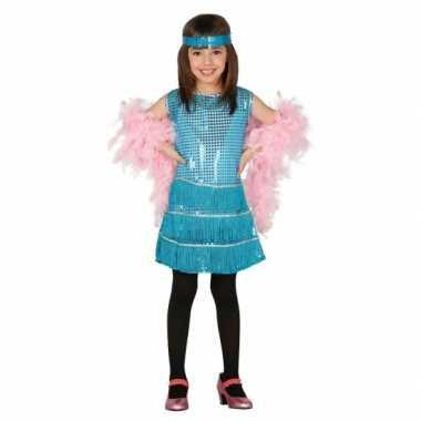 Verkleedkleding  Showgirl jurkje blauw meisjes tip