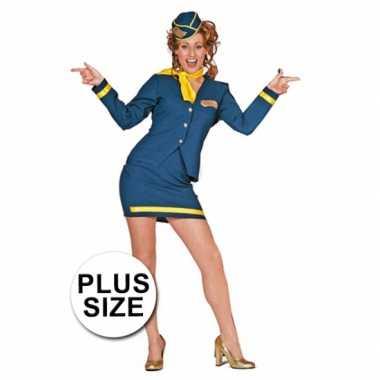 Verkleedkleding  Stewardess damesuniform grote maat tip