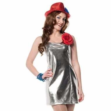 Verkleedkleding  Stretch jurk zilver tip