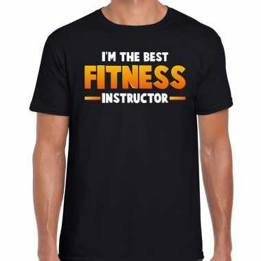 Verkleedkleding the best fitness instructor t shirt zwart heren tip
