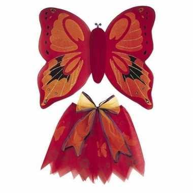 Verkleedkleding vlinder vleugels verkleed set rood kind tip