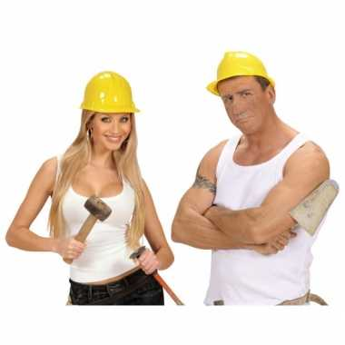 Verkleedkleding  Werkhelm geel volwassenen tip