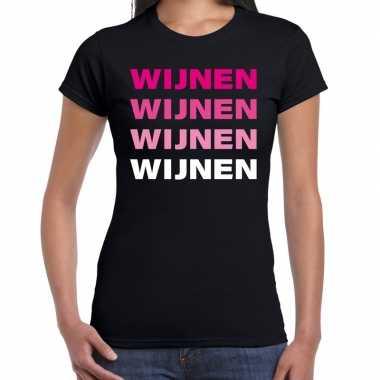 Verkleedkleding wijnen wijnen wijnen wijnen t shirt zwart dames tip