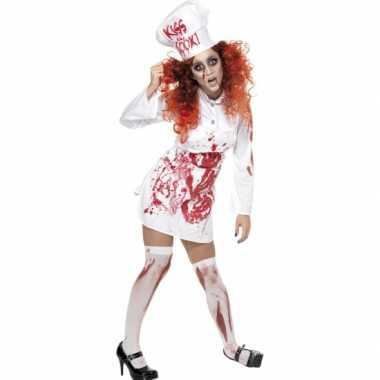 Verkleedkleding  Wit koks jurkje bloed tip
