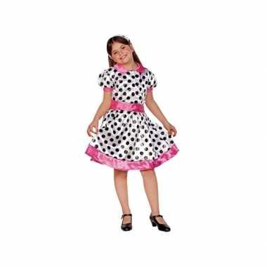Verkleedkleding  Wit/roze 70s jurkje meiden tip