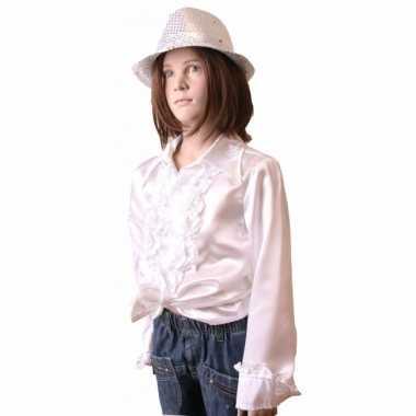 Verkleedkleding  Witte disco blouse meisjes tip