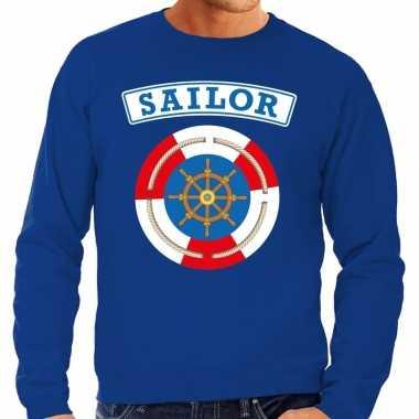 Verkleedkleding zeeman/sailor verkleed sweater blauw heren tip