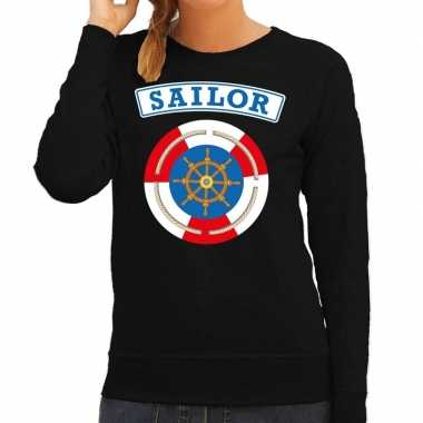 Verkleedkleding zeeman/sailor verkleed sweater zwart dames tip